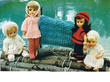 PDF Digital Download Vintage Knitting Pattern Dolls Clothes 12-18'' Dolls 3/4 ply