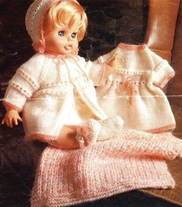 PDF Digital Download  ​​​​​​​Vintage Knitting Pattern Dolls Clothes 18'' 20''  Toys