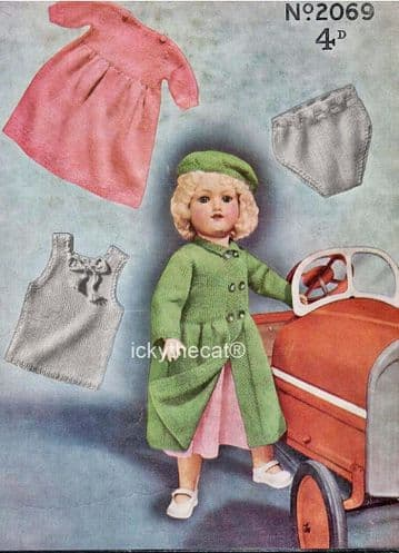 PDF Digital Download Vintage Knitting Pattern Dolls Clothes 18-21 inch in 3 ply