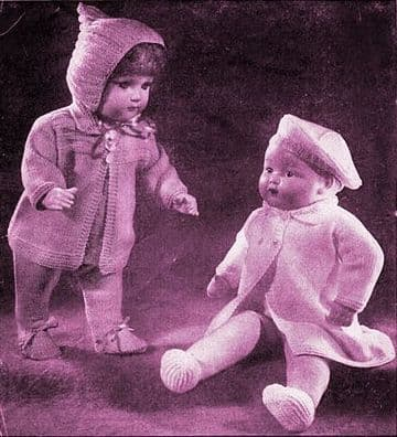 PDF Digital Download Vintage Knitting Pattern Dolls Clothes 18'' Coat Beret Shoes Jumper +