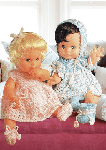 PDF Digital Download Vintage Knitting Pattern Dolls Clothes 2 Outfits 12-18 inch  4 ply yarn