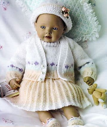 PDF Digital Download Vintage Knitting Pattern Dolls Clothes 2 Outfits 14 inch 4 ply