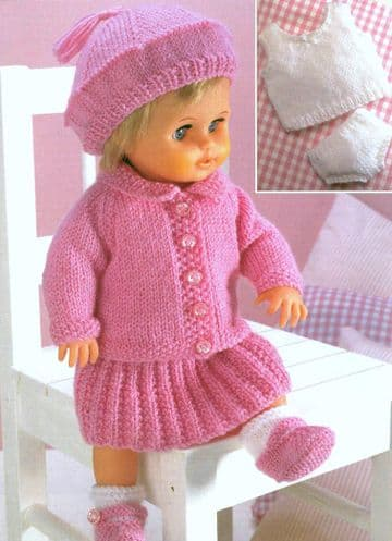 PDF Digital Download Vintage Knitting Pattern Dolls Clothes Premature Baby  jacket, skirt, beret