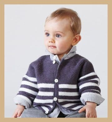 PDF Digital Download  Vintage Knitting Pattern Easy Baby Cardigan Jacket 1 - 24 months 3 mm needles