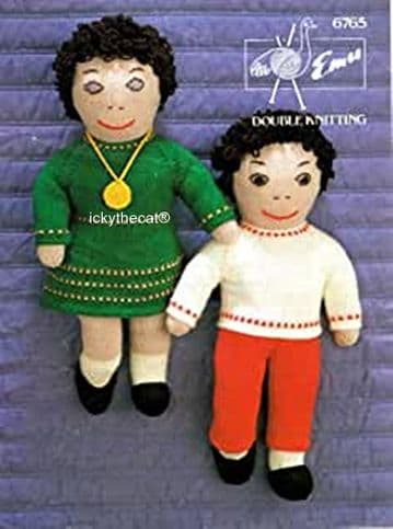 PDF Digital Download Vintage Knitting Pattern Emu 6765 Two Dolls with Clothes Stuffed Soft Toys DK