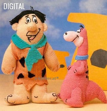 PDF Digital Download Vintage Knitting Pattern Fred Flintstone Doll Dino Dinosaur Soft Animal Toys
