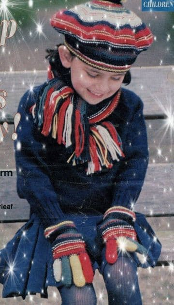 PDF Digital Download Vintage Knitting Pattern Girl's One Size Bold Striped Beret  or Hat,Gloves