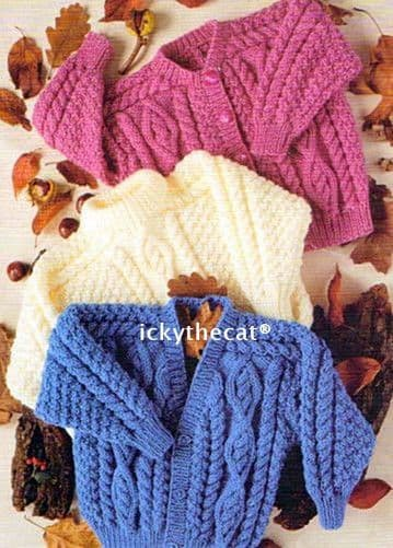 PDF Digital Download Vintage Knitting Pattern Irish Aran Baby Child's Cardigan & Sweater