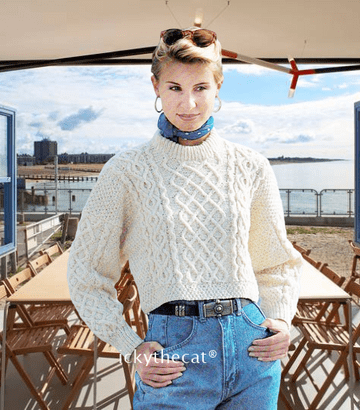 PDF Digital Download Vintage Knitting Pattern Ladies Short Aran Cable Sweater Bust 32-40''