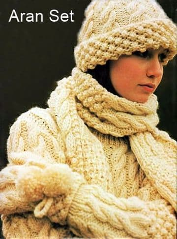 PDF Digital Download Vintage Knitting Pattern Ladies Women Aran Bramble Sweater Jumper Hat Scarf