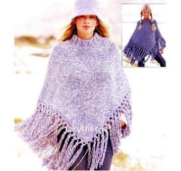 PDF Digital Download Vintage Knitting Pattern Ladies Women's Child's Poncho 28-35'''