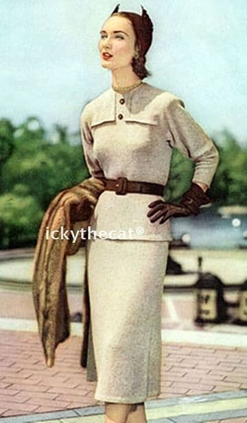 PDF Digital Download Vintage Knitting Pattern Ladies Women's Fifties Skirt Suit Sizes 12/14/16