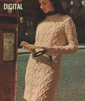 PDF Digital Download Vintage Knitting Pattern  Ladies Womens Aran Inspired Long Sleeve Cable Dress