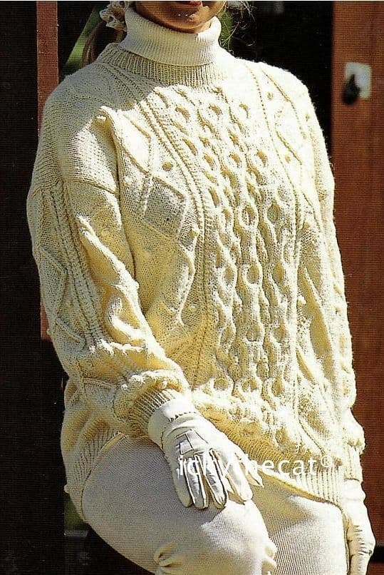 PDF Digital Download Vintage Knitting Pattern Ladies Womens Aran Long Cable Sweater Jumper 32-42''