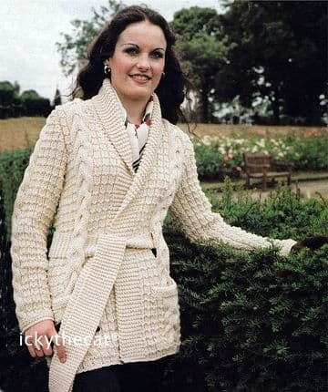 PDF Digital Download Vintage Knitting Pattern Ladies Womens Aran Style Long Cable Cardigan