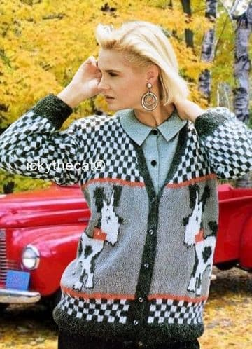 PDF Digital Download Vintage Knitting Pattern Ladies Womens Cardigan Jacket Scottie Dog Motif 32-42