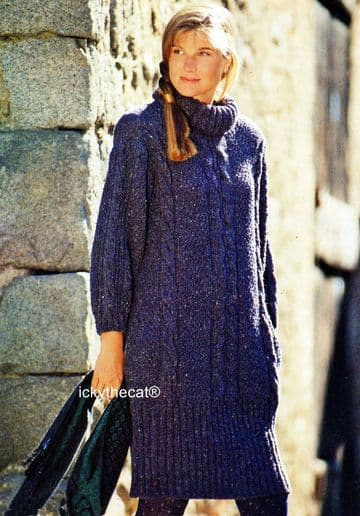 PDF Digital Download Vintage Knitting Pattern Ladies Womens Chunky Cable Dress 34-44'' Aran Style