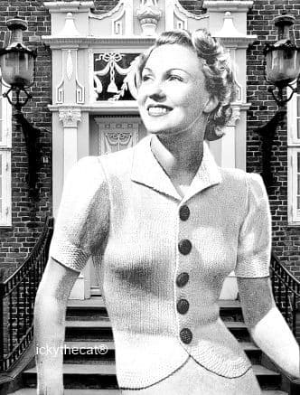 PDF Digital Download Vintage Knitting Pattern Ladies Womens Fitted Cardigan Jacket 35-37'' DK