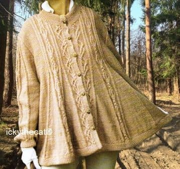 PDF Digital Download Vintage Knitting Pattern Ladies Womens Flared Cabled Swing Jacket 36-42'' DK