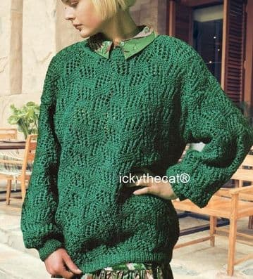 PDF Digital Download Vintage Knitting Pattern Ladies Womens Girls Lacy Aran Sweater Jumper 34-40''