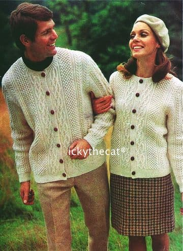 PDF Digital Download Vintage Knitting Pattern Ladies Womens Mans Mens Aran Classic Cable Cardigans