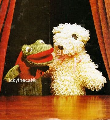 PDF Digital Download Vintage Knitting Pattern Lamb Frog Glove Puppets Animal Activity Toys