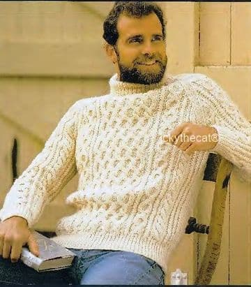 PDF Digital Download Vintage Knitting Pattern Mans Mens Aran Cable Sweater Jumper 32-46 inches