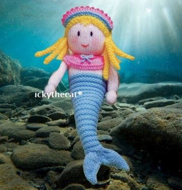 PDF Digital Download Vintage Knitting Pattern Mermaid Stuffed Soft Toy  12-13'' ​​​​​​​DK/8 ply