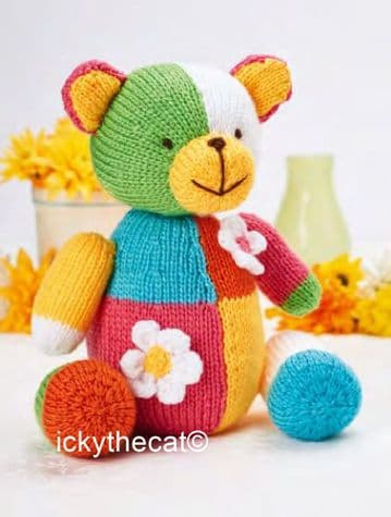 PDF Digital Download Vintage Knitting Pattern Patchwork Teddy Bear Stuffed Soft Toy Animal 24 cm DK