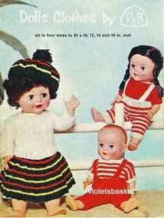 PDF Digital  Download Vintage Knitting Pattern Patons & Baldwin SC 24 Doll Clothes Toys