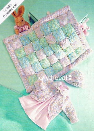 PDF Digital Download Vintage Knitting Pattern Premature Baby Cardigan Coat Hat Padded Blanket 12-20