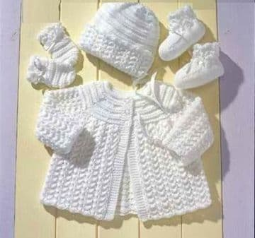 PDF Digital Download Vintage Knitting Pattern Premature Baby Clothes Coat/Jacket Bonnet Mitts Bootee