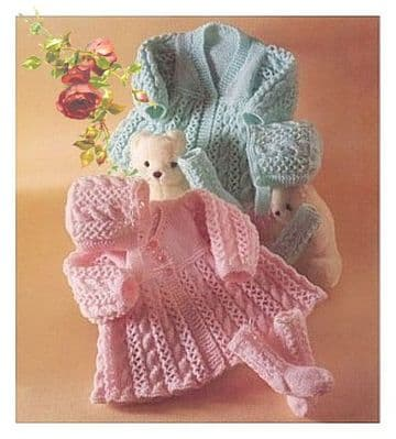 PDF Digital Download Vintage Knitting Pattern  Premature Baby Matinee Jacket/Coat, Bonnet & Socks