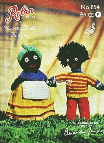 PDF Digital Download Vintage Knitting Pattern Robin 854 Stuffed Soft Toys Black Doll and Golly