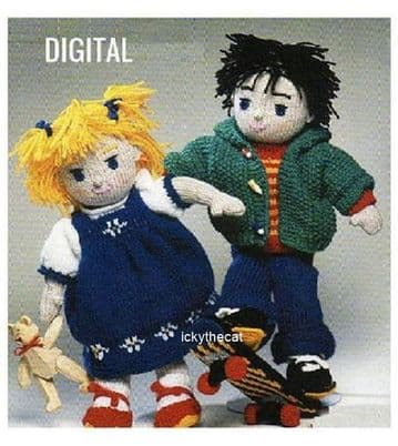 PDF Digital Download Vintage Knitting Pattern Skateboard Boy and Girl Rag Dolls Stuffed Plush Toys