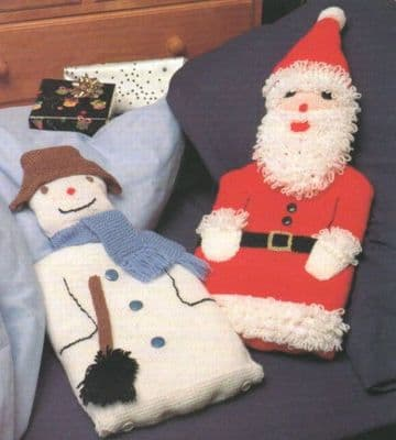 PDF Digital Download Vintage Knitting Pattern Snowman & Santa Hot Water Bottle Covers