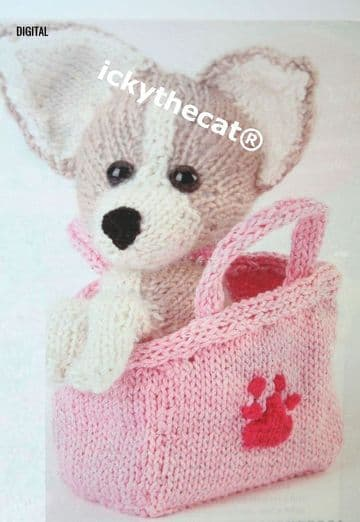 PDF Digital Download Vintage Knitting Pattern Soft Toy Animal Chihuahua Puppy Dog + Pouch Toys