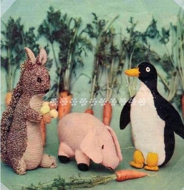 PDF Digital Download Vintage Knitting Pattern Soft Toy Red Squirrel, Piglet and Penguin 4 ply yarn