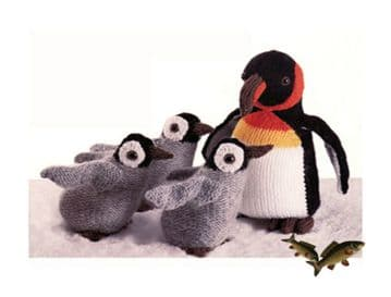 PDF Digital Download Vintage Knitting Pattern Stuffed Soft Body Toy Animals Penguin and Chicks