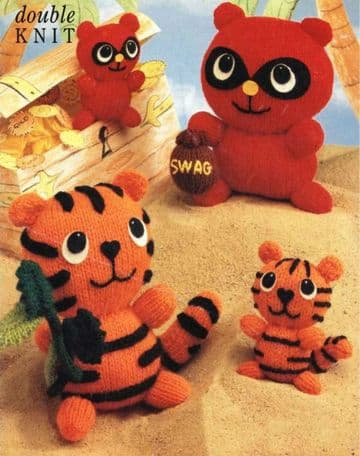 PDF Digital Download Vintage Knitting Pattern Stuffed Soft Body Toy Animals Tiger Racoon Toys