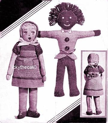 PDF Digital Download Vintage Knitting Pattern Stuffed Soft Toy 12'' Doll & 15'' Golly Doll Clothes