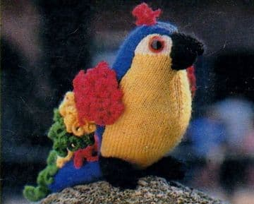 PDF Digital Download Vintage Knitting Pattern Stuffed Soft Toy Bird Parrot 20 cm Toys