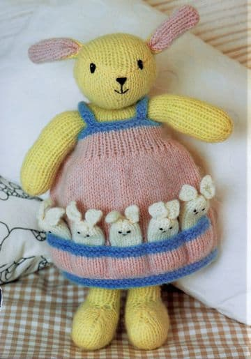 PDF Digital Download Vintage Knitting Pattern  Stuffed Soft Toy Mother Rabbit with Baby Bunnies 14''