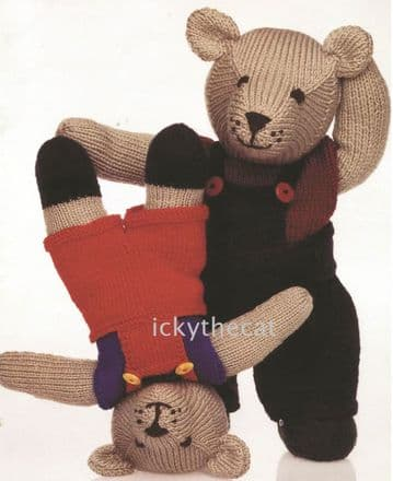 PDF Digital Download Vintage Knitting Pattern Stuffed Soft Toy Teddy Bears & Clothes 45cm 35cm Toys