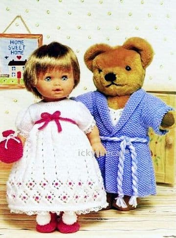 PDF Digital Download Vintage Knitting Pattern Teddy Bear & Dolls Clothes
