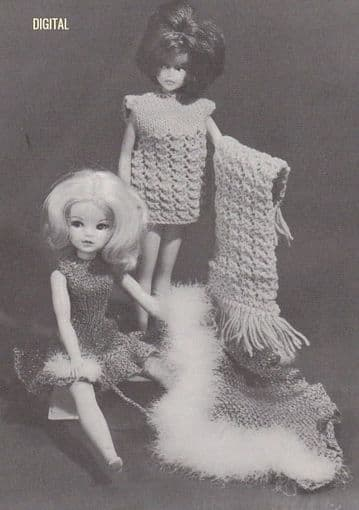 PDF Digital Download Vintage Knitting Pattern Teenage Doll Clothes Dress,Cloak Pillbox Hat Barbie