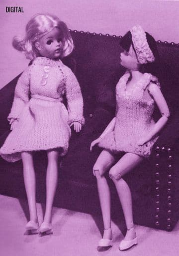 PDF Digital Download Vintage Knitting Pattern Teenage Doll Clothes Shift Dress Sindy Barbie Dolls