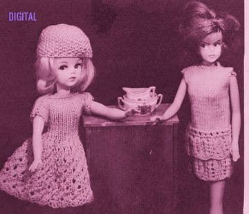 PDF Digital Download Vintage Knitting Pattern Teenage Fashion Doll Clothes Flared Dress Hat Barbie