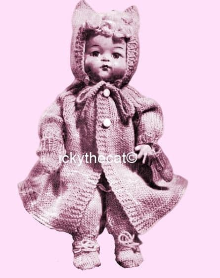 PDF Digital Download Vintage Knitting Pattern Toy Doll Clothes 14'' Baby Dolls Toys