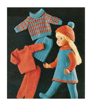 "PDF Digital Download Vintage Knitting Pattern Toy Doll Clothes 16"", 18"" 20"" Dolls Toys"